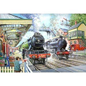 1000 Piece Jigsaw Puzzle Train Now Standing - At Railway Station