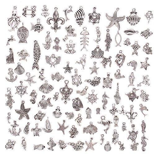 JuanYa 100 Stücke Ozeanabschnitt Charm DIY Anhänger zum Basteln von Schmuck, verschiedene Motive, 01# (Kleine Anhänger)