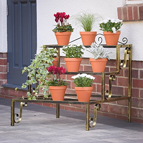 Grada para plantas, anaqueles para plantas, con 3 niveles, de metal, en color bronce