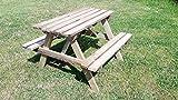 naturholz-shop Kindersitzgarnitur 4 Sitzer Kinder Sitzgruppe Holz Garten Tisch Bank Kindertisch