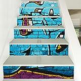 QQA Treppen Aufkleber DIY Wasserdicht Selbstklebend Mauer Graffiti Mauer Dekoration Zuhause Kreatives 3D 100 * 18CM/6PC