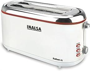 Inalsa Radiant 4S 1300-Watt 4 Slice Pop-Up Toaster (White)