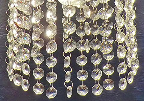 100 16mm Octagon Clear Transparent Chandelier Drops Parts Cut Glass Crystals Droplets Beads Christmas Tree Ornaments Pendants Vintage Chic Wedding Wishing Charms Decorations Garlands Prisms Antique Quality Art Deco Beads Feng Shui Window Sun Beads Chains by Seear