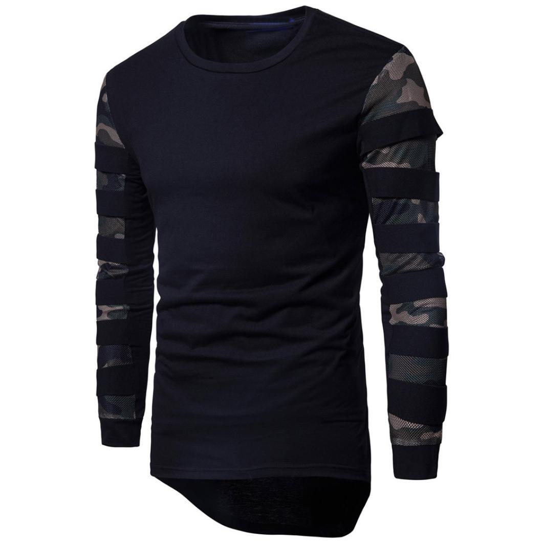 Men's Camouflage Net Sleeve Stitching Turtleneck Sweater, Men's Long Sleeve Multicolor Printed Pullover Sweatshirt Top Tee Outwear Blouse