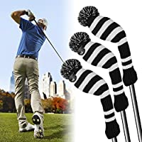 XCSOURCE 3pcs Golf Club Driver Knitted Headcover Pom Pom Golf Head Covers Irons Protective Set for Titleist Taylormade Callaway #1 #3 #5 #7 #X
