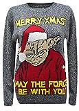 F B-Herren Weihnachten Jumpers, Star wars Unisex Darth Vader Yoda Santa's Jumper S-XL (XL, Grau)