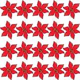 SATINIOR 20 Pezzi Natale Artificiale Fiori Glitter Poinsezia Albero di Natale Ornamento DIY Vacanza Floreali Disposizione (Rosso)