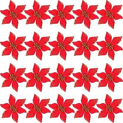 SATINIOR 20 Piezas de Flores Artificiales de Navidad Poinsettia Brillante Adornos de Árbol de Navidad DIY Arreglos Floral de Fiesta