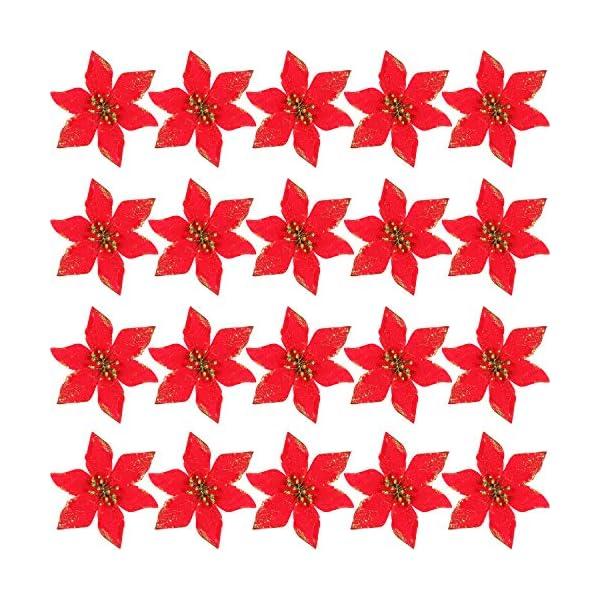 SATINIOR 20 Piezas de Flores Artificiales de Navidad Poinsettia Brillante Adornos de Árbol de Navidad DIY Arreglos Floral de Fiesta (Rojo)