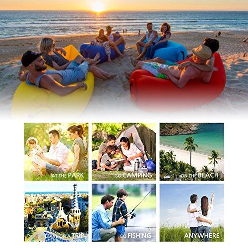 iRegro wasserdichtes aufblasbares Sofa mit integriertem Kissen, tragbarer aufblasbarer Sitzsack, Aufblasbare Liegecouch, aufblasbares Outdoor-Sofa für Camping, Park, Strand, Hinterhof (blauschwarz) - 5
