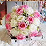 Dragon868 18Head Kunstseide Rosen Blumen Brautstrauß Rose Home Wedding Decor (I, Künstliche Blume) -