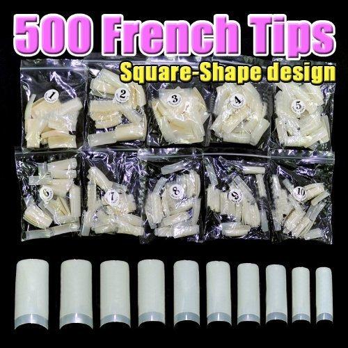 500 pcs nouveau professionnel Français faux ongles pour acrylique nail art tips design décoration (Square)