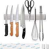 Ninonly Porte Couteaux Magnétique 30cm Barre à Couteaux Aimantée, Porte-Couteaux en Acier Inoxydable, Bandeau magnétique de C