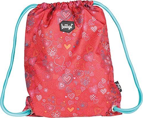Baagl Turnbeutel für Mädchen - Wasserdichte Schuhbeutel für Kinder - Schule und Kindergarten Sportbeutel - Sportrucksack (Love)