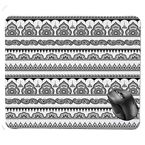 Premium-Textured Mouse pad,Eastern Tattoo Design with Various Ornamental and Geometric Shapes Monochrome Style Decorative Mouse Pad