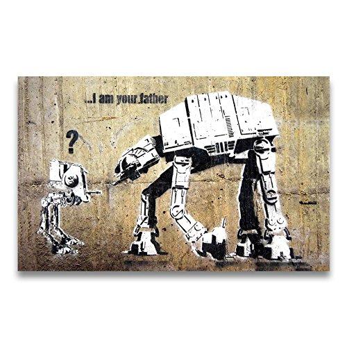 "Banksy Kunstdruck auf Leinwand ""I am your Father"" - Star Wars Graffiti Bild 95 x 60 cm fertig gerahmt"