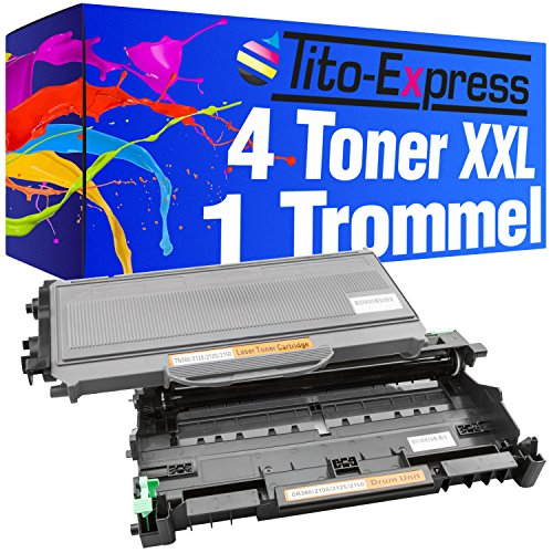Lj2200 Drucker (Tito-Express PlatinumSerie Sparset Trommel & 4 Toner-Kartuschen XXL Schwarz kompatibel mit Brother DR-2100 & TN-2120 HL-2140 HL-2150 HL-2150N HL-2170 HL-2170N HL-2170W DCP-7030 DCP-7040 /DCP-7045N MFC-7320)