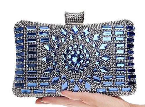 Damen Satin Abendtasche mit Kristall Clutch Handtasche 20 * 14 CM blau