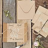 Ginger Ray Rustikal Kraft und weiß Schrift Save the Date Binden die Knoten–10PACK–Rustikal Land