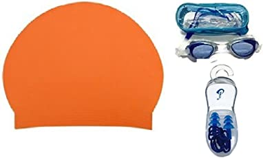 Complete Swimming Kit with Cap, Goggles and Earplugs