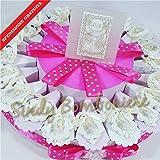 Bomboniere Kommunion Kuchen-Konfekt mit Blatt Anhänger für Mädchen inklusive Versand Torta da 35 fette