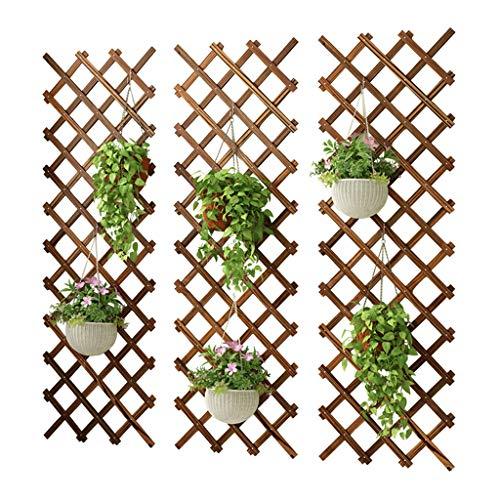 YQQ-Racks Aufhängung Holzzaun Wand-Blumenständer Blumentopfhalter Klettergerüst Pflanzenständer Balkon Massivholz-Blumenständer
