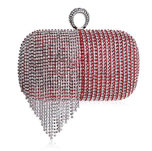 Frauen Clutch Bag Abendtasche Quasten Farbverlauf Clutch Bag Handtasche Für Party Hochzeit Clubs Red