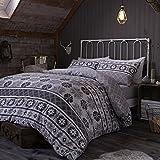 Catherine Lansfield CL Oslo Grey - Juego de funda nórdica para cama de 180 cm