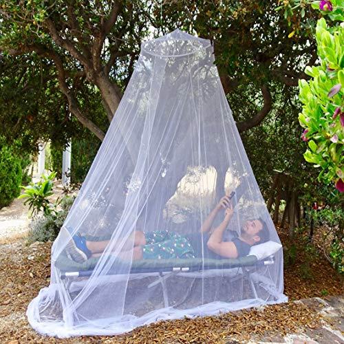 EVEN NATURALS MOSKITONETZ Bett, großes Mückennetz für Einzelbett, feinste Löcher, rundes Netz Vorhang, Insektenschutz Reise, 1 Eintrag, einfache Anbringung, Tragetasche, Keine Chemikalien -