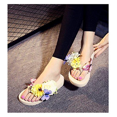 Eagsouni® Damen Mädchen Böhmen süße Blume Plateau Sandalen Pantoletten Flip Flops Keilabsatz Zehentrenner Sommer Freizeit Strandschuhe Hausschuhe #2Beige