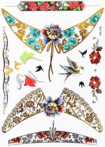 Inception pro infinite yh118 - tattoo finto per il corpo - braccia - caviglie - polso - gamba - coscia - spalla - schiena - passero - fiori - rondini - rose - donna
