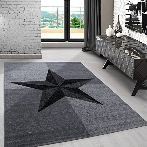 Modern designer Teppich für Wohnzimmer kariert Stern Motive Grau 8002, Maße:120x170 cm