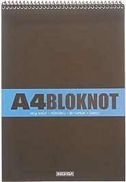 Meteksan A4 Pet Spiralli Bloknot 80 Yaprak, Kareli