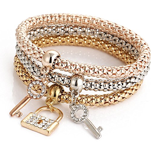 Outflower Fashion Key Lock Diamond Corn Braccialetto a Catena Grossa Bracciale Donna a Tre Pezzi Gioielli da Donna Accessori Selvatici (Come Mostrato)
