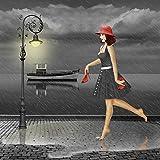 Artland Qualitätsbilder I Alu Dibond Bilder Alu Art 70 x 70 cm Menschen Frau Digitale Kunst Schwarz Weiß D0NE Tanzen im Regen