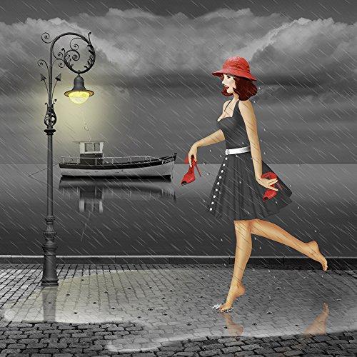 Artland Qualitätsbilder I Wandtattoo Wandsticker Wandaufkleber 100 x 100 cm Menschen Frau Digitale Kunst Schwarz Weiß D0NE Tanzen im Regen