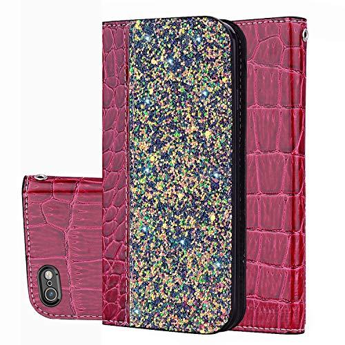 Kucosy Glitzer Schutzhülle für iPhone 6 Plus, iPhone 6S Plus Hülle Luxury Bling Glitzer PU Leder Handyhülle Tasche Wallet Case Schutzhülle Sparkle Flip Handytasche für iPhone 6 Plus/6S Plus, Weinrot