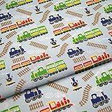 Trenes tela niños de polialgodón blanco azul rojo Craft infantil (por metro)