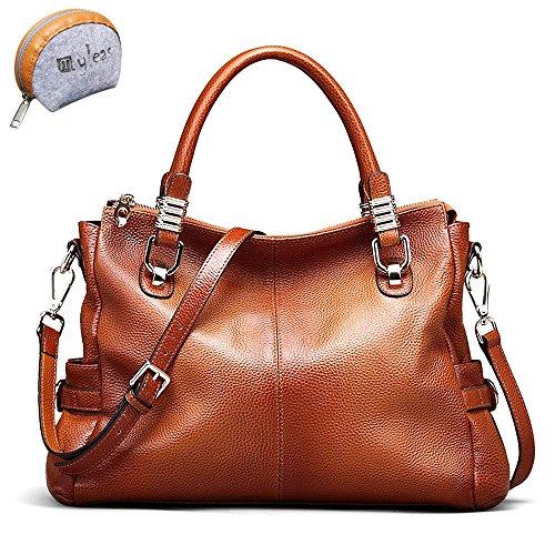 Myleas 2W-ST5633 Damen Retro Echtes Leder Henkeltasche Handtasche Schultertasche Shopper mit Schultergurt Braun