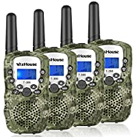 WisHouse Walkie Talkies Best 8 Channels PMR446MHz Walky Talky 3KM Long Range LED Torch Handheld Transceiver Boys Children Field Survival, Camping, Biking Hiking.(T388 camouflage, 4pcs)
