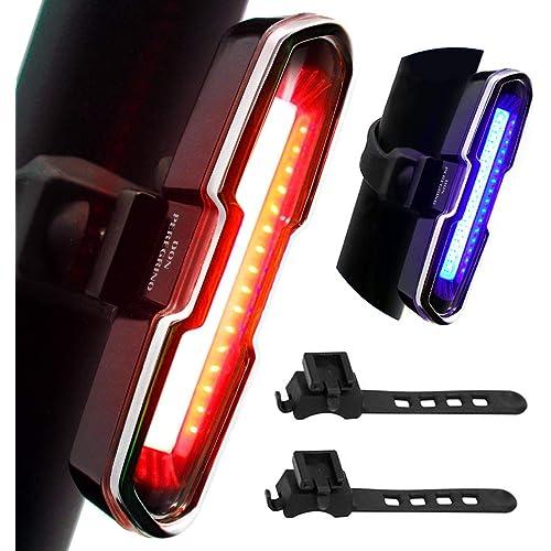 DONPEREGRINO B2-110 Lumen Luce Bici Posteriore ad Alta Luminosità Rosso/Blu, LED Fanale Posteriore MTB Ricaricabile con 5 modalità Fissa/Flash