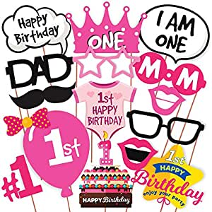 WOBBOX First Birthday Party Props for Birthday Events (Pink) 16 Pcs