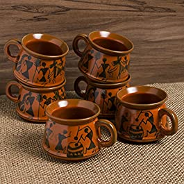 Hand-Painted Ceramic Coffee Mugs Cum Tea Cups Set (Set of 6, Red Mud Brown)