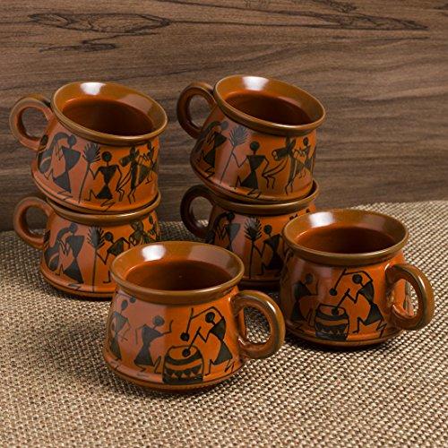 Hand-Painted Ceramic Coffee Mugs Cum Tea Cups Set (Set of 6, Red Mud Brown)