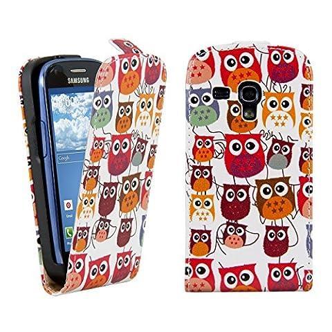 kwmobile Hülle für Samsung Galaxy S3 Mini i8190 - Flip Case Handy Schutzhülle Kunstleder - Flipcover Cover Eule Familie Design Mehrfarbig Pink Weiß