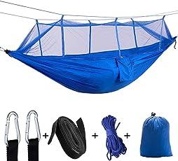 Hängematte Tree Straps & Karabiner Easy Assembly Tragbare Parachute Nylon Hängematte Single & Double Camping Hängematte mit Moskito / Bug Net für Camping, Backpacking, Survival, Travel & More
