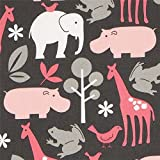 Michael Miller grauer Stoff Zoology rosa Zootiere