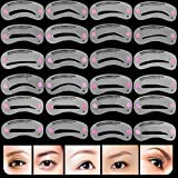 AKOAK 24 Piece 8 Set Eyebrow Stencils Eyebrows Grooming Stencil Kit Shaping Templates DIY Tools by AKOAK