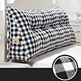 PIAOLING Japanisches Gitter-dreidimensionales waschbares Baumwollleinen-Kissen-Bett-Kopf-Rücken, Weiche Sofatasche, Taillen-Schutz-Ansatz-Weiches Kissen (Color : C, Größe : 180*20*50CM)