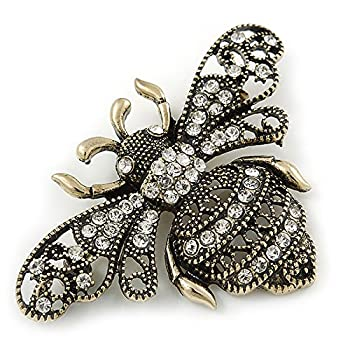 Avalaya Vintage Inspired Crystal Bumble Bee Brooch In Aged Gold Tone - 60mm 2